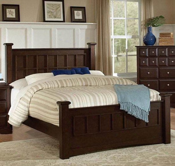 Queen Size Bed Transitional Style In Cappuccino Finish