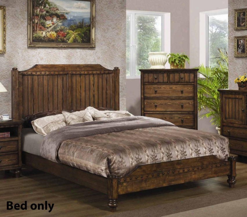 Queen Size Bed With Planked Details In Medium Brown Finish