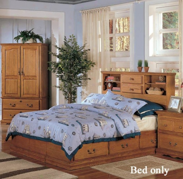 Queen Size Bed With Stoage Headboard In Light Brown Finish