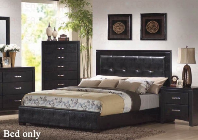 Queen Size Bed Wth Vinyl Headboard In Black Finish