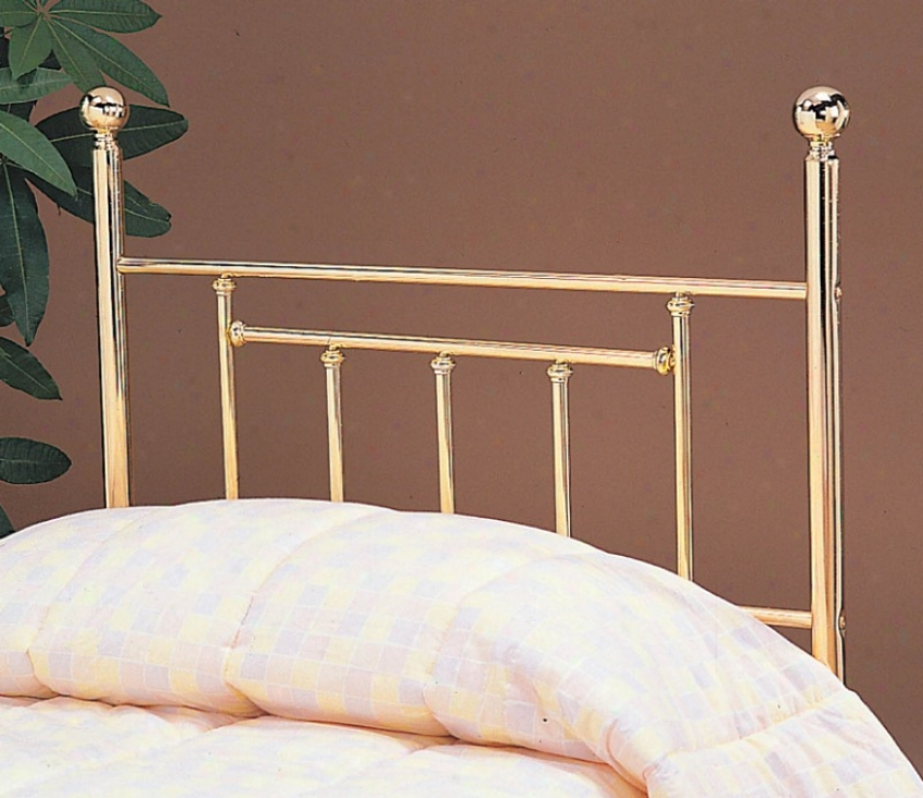 Queen Size Headboard With Tubular Design In Brass Finish