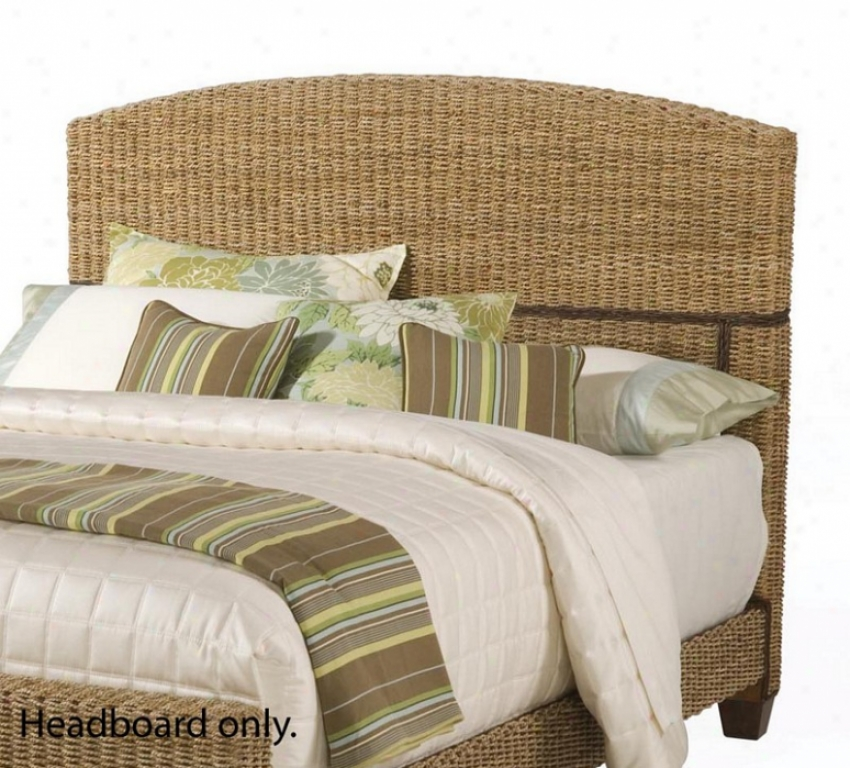 Queen Size Headboard With Woven Design In Honey Finish