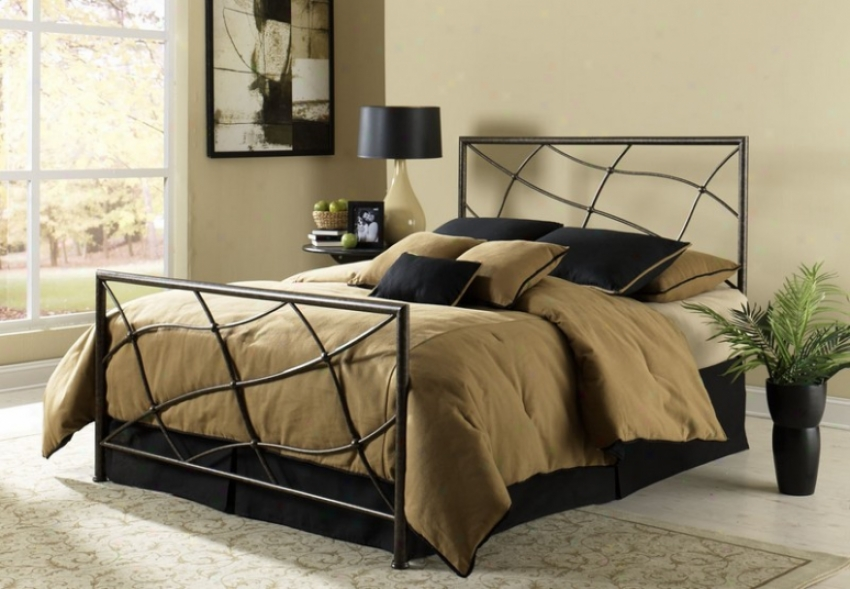 Queen Size Mstal Bed - Sonata Contemporary Style In Speckled Seessame Finish