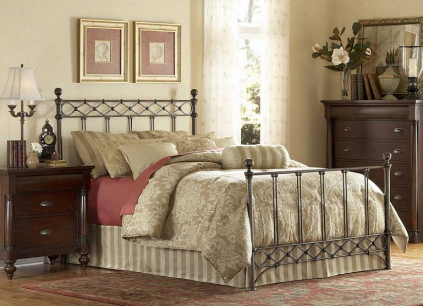 Queen Size Metal Bed With Frame - Argyle Traditional Design In Copper Chrome Accomplish