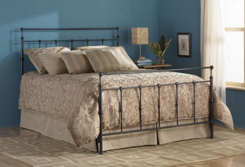 Queen Size Metal Bed Attending Frame - Winsslow Transitional Design In Mahogany Gold Finish