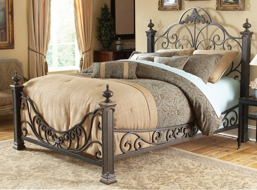 Queen Size Metal Bed With Rails - Baroque Traditional Design In Gilded Slate Finish