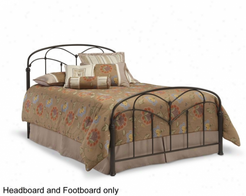 Queen Size Metal Headboard And Footboard - Pomona Transitional Stylee In Hazelnu tFinish