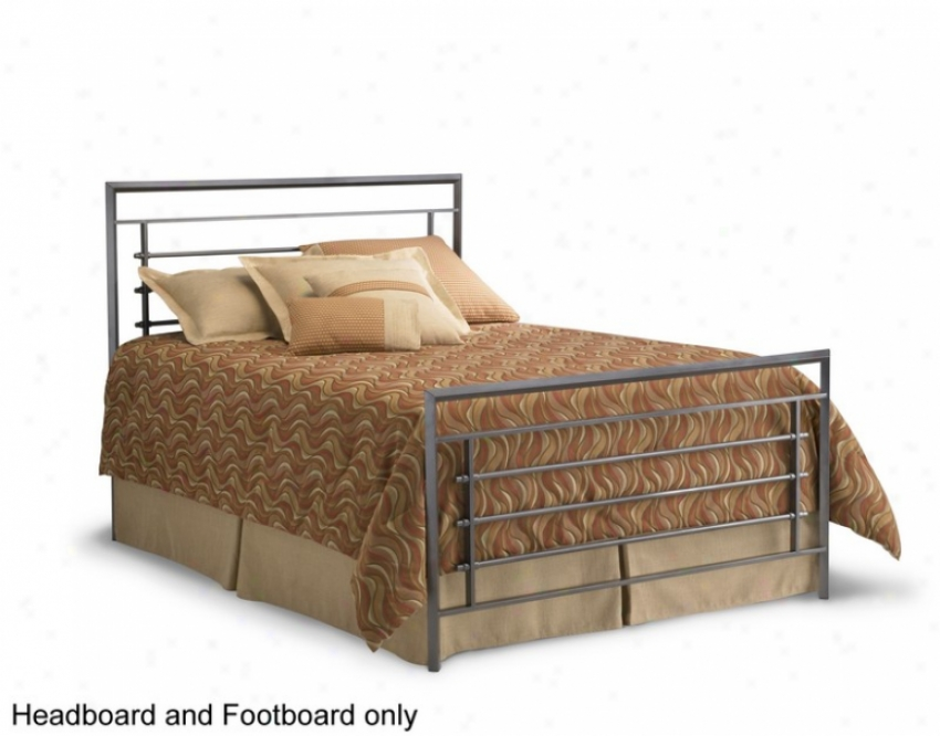 Queen Size Metal Headboard And Footboard - Vista Contemporary Style In Iron Finish