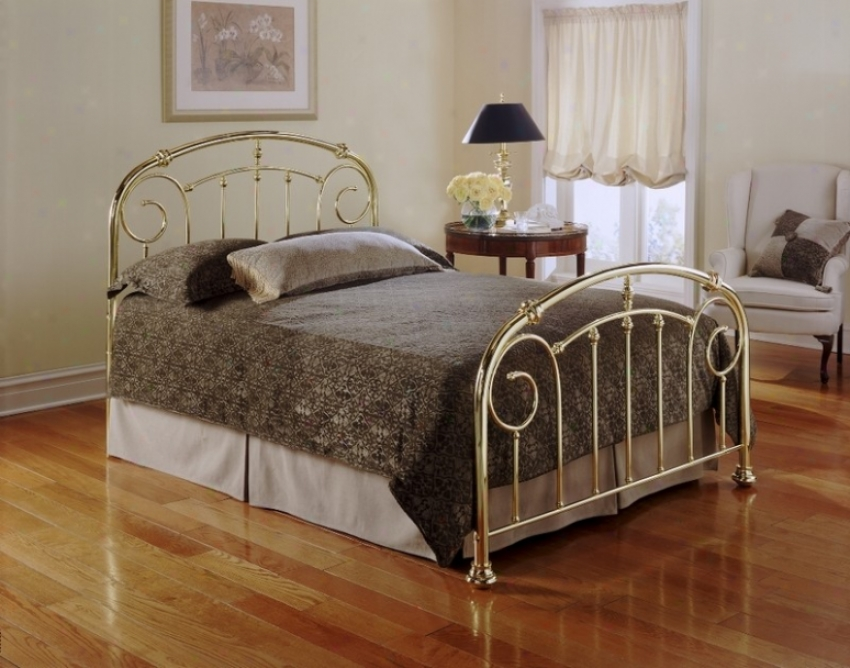 Queen Size Metal Headboarrd - Lillian Orally transmitted Design In Lustre Brass Finish
