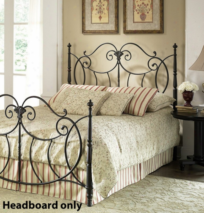 Queen Size Metal Headboard - Shannon Traditional Design In Black Finish