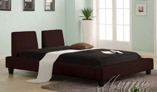 Queen Size Platform Bed In Espresso Bycast Leathher