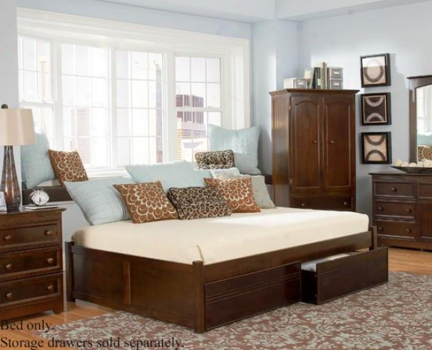 Queen Size Platform Bed With Flat Array Footboard Antique Walnut Finish