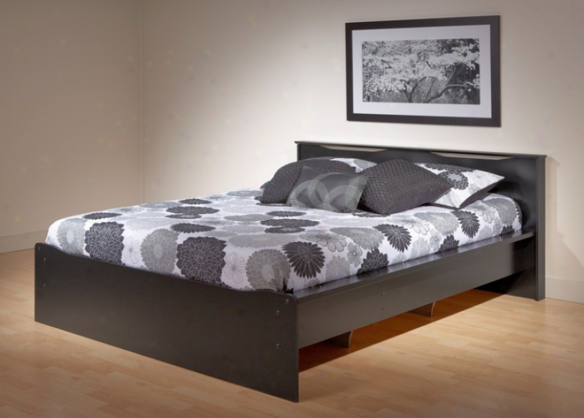 Queen Size Platform Bed With Integrated Headboard In Black Finish