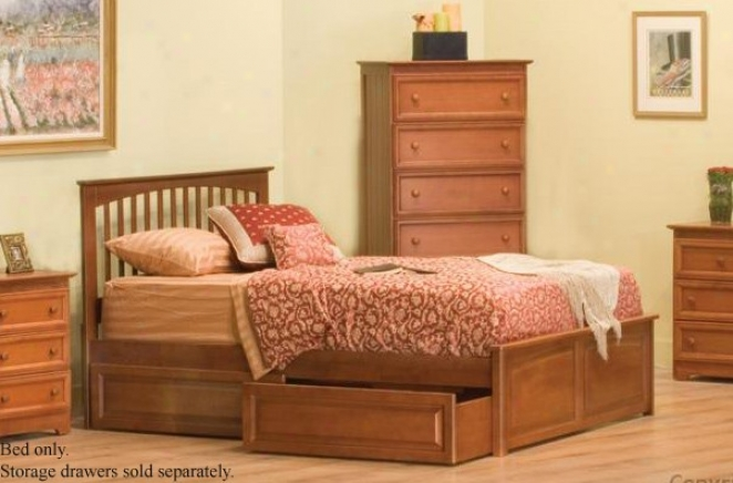 Queen Size Platform Bed With Raised Panel Footboard Caramel Latte End