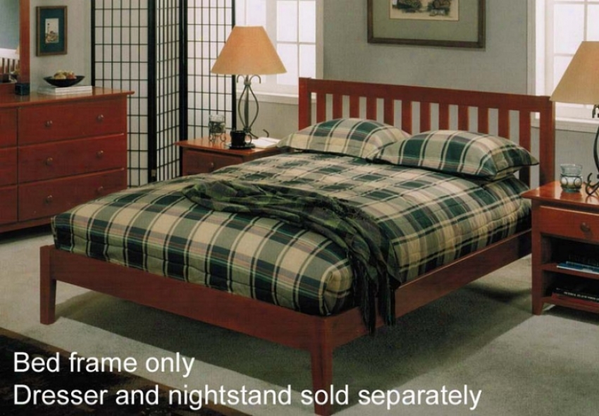 Queen Size Platform Bed With Slated Headboard In Light Cherry Accomplish