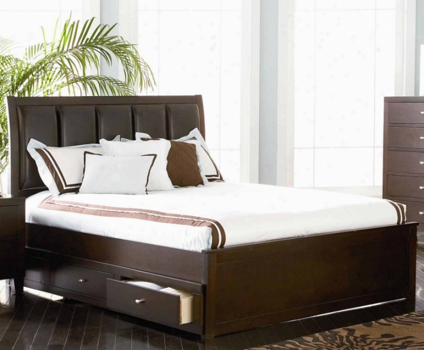 Queen Size Platform Storage Bed In Deep Brown Finish
