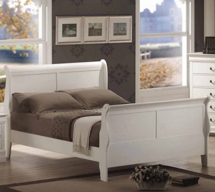 Queen Size Sleigh Bed Louis Philippe Style In White Finish