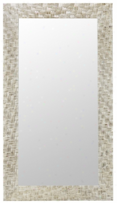 Rectangular Fruitwood Wall Mirror In Distressed Off White Finish