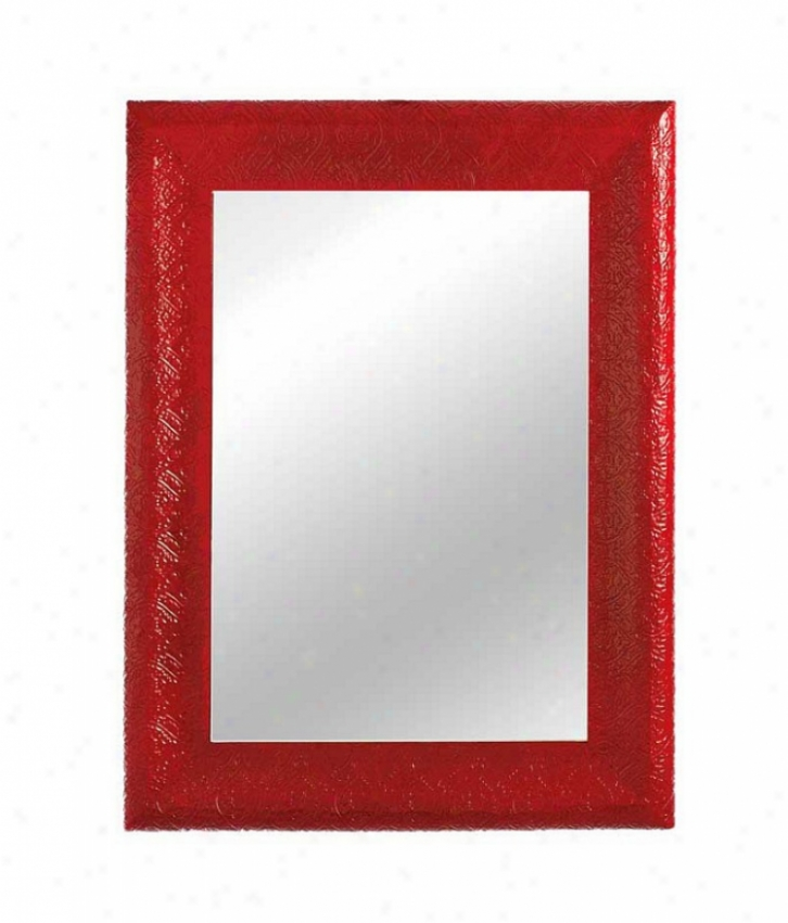 Rectangular Wall Mirror Embossed Pattern In Lacquer Red
