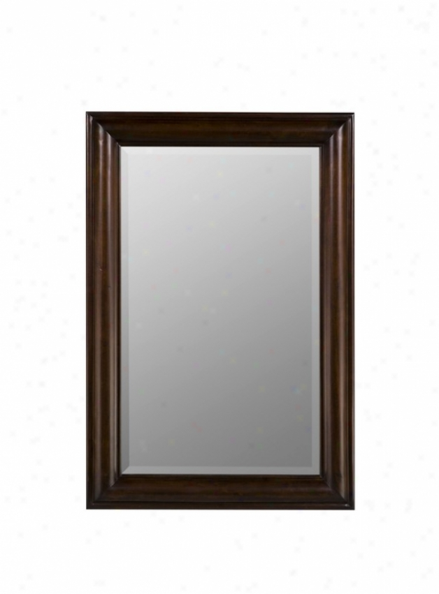 Rectangular Wall Mirror Transitional Style In Tobacco Finish