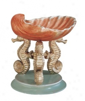 Resin Bowl - Sea Horse And Seashell In Golden Finish
