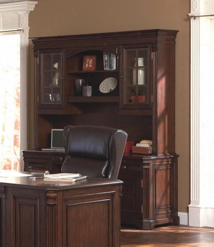 Rich Cappuccino Finish Home Office Credenza Desk With Hutch
