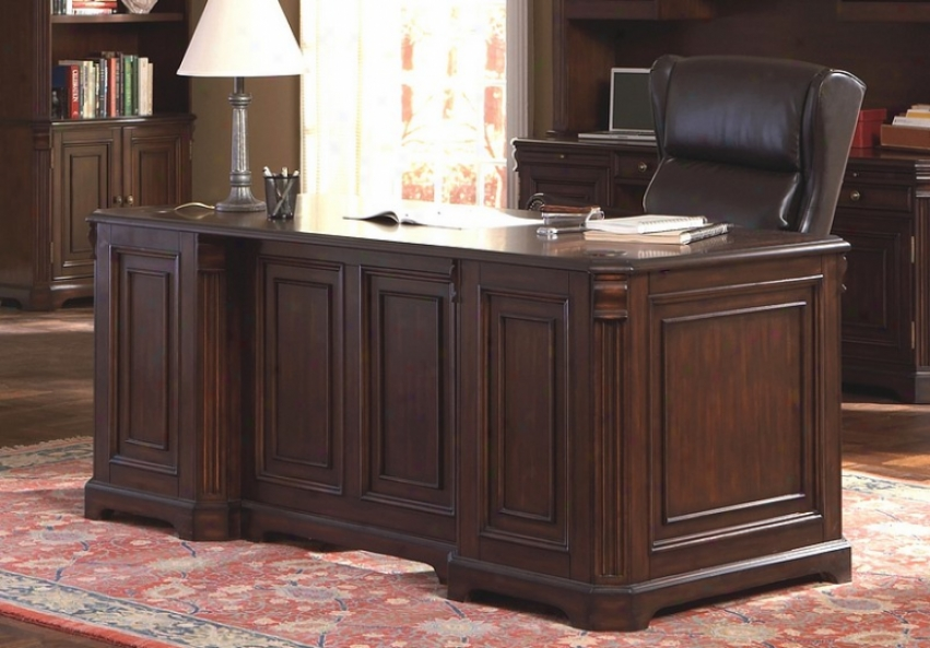 Rich Dark Finish Home Office Writing Desk With Stofage Drawers