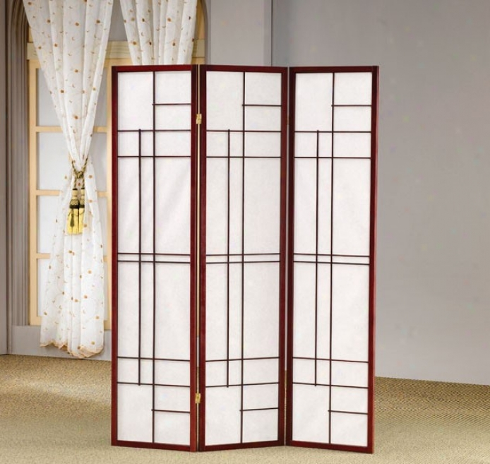 Room Divider Panel Folding Screen In Cherry Finish