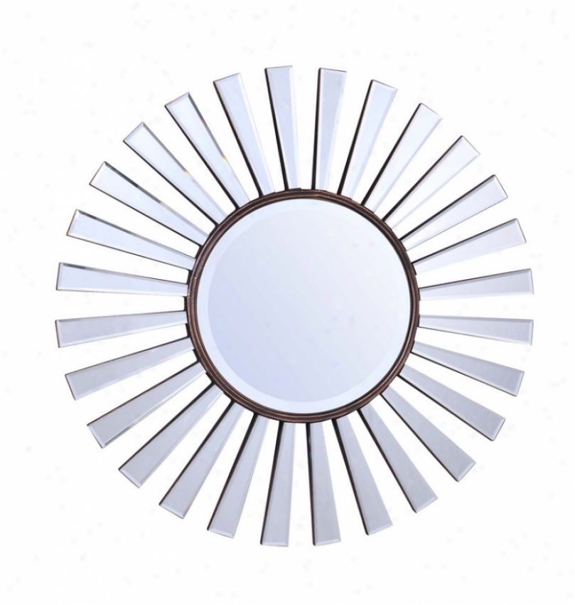 Round aWll Beveled Frameless Mirror In Dark Waln8t Finish