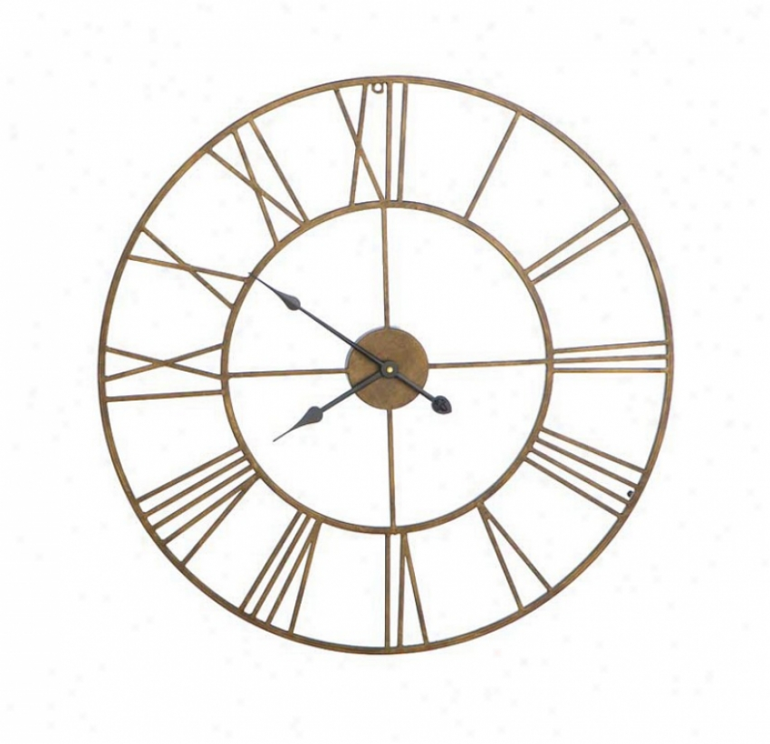 Round Wall Clock Open Roman Numeral Design In Antique Gold