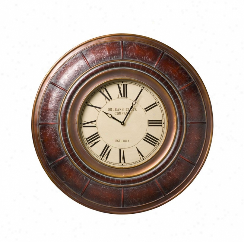 Round Wall Clock Traditional Style In Embossed Deep Red Finish