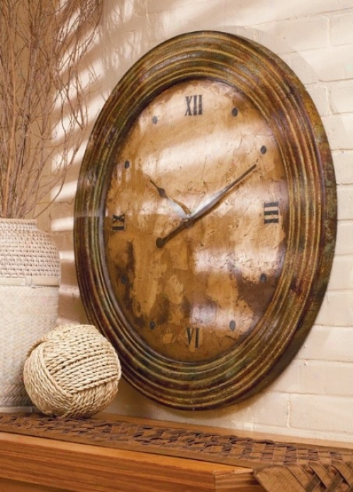 Circle Wall Clock With Roman Numerals In Tuscan Rust Finish