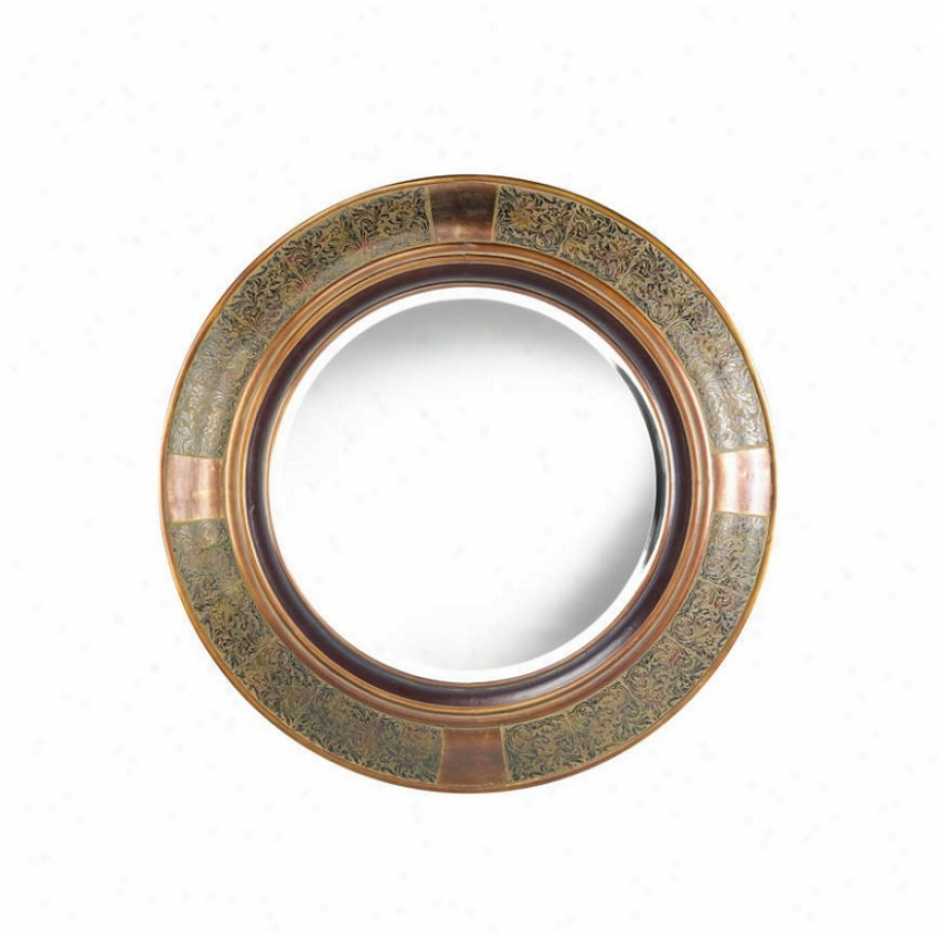 Rpund Wall Mirror In Aged Copper Finish With Cppper Accents