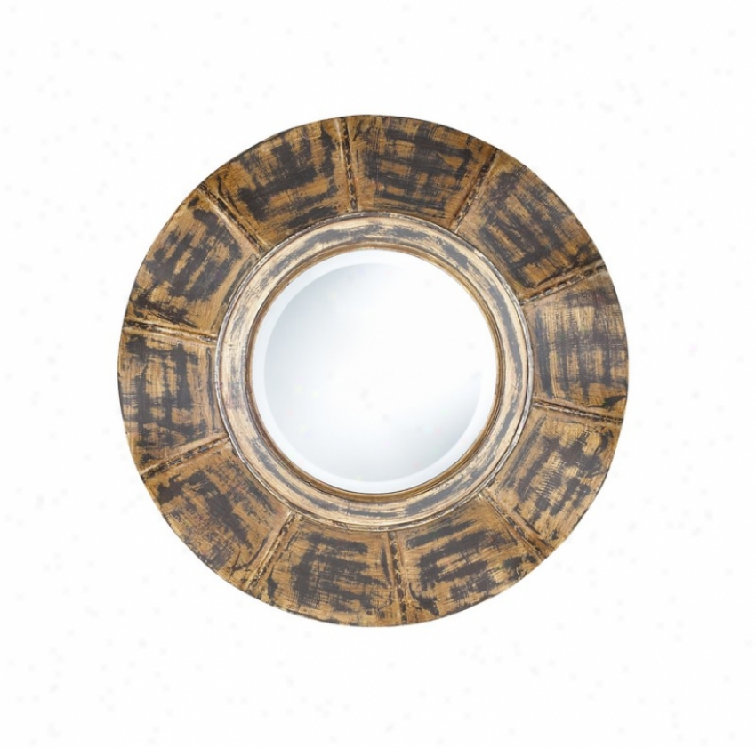 Round Wall Mirror In Distressed Tan And Black Finish