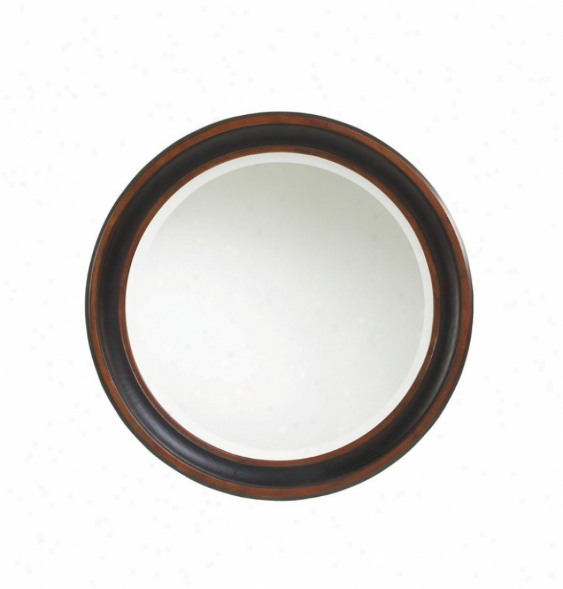 Round Wall Mirror In Two Tone Black Rubbed Finish