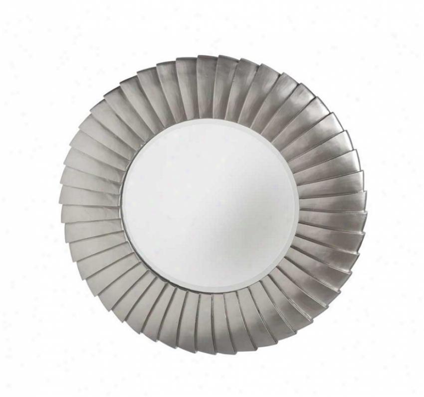 Round Wall Mirror Pleated Frame In Champagne Finish