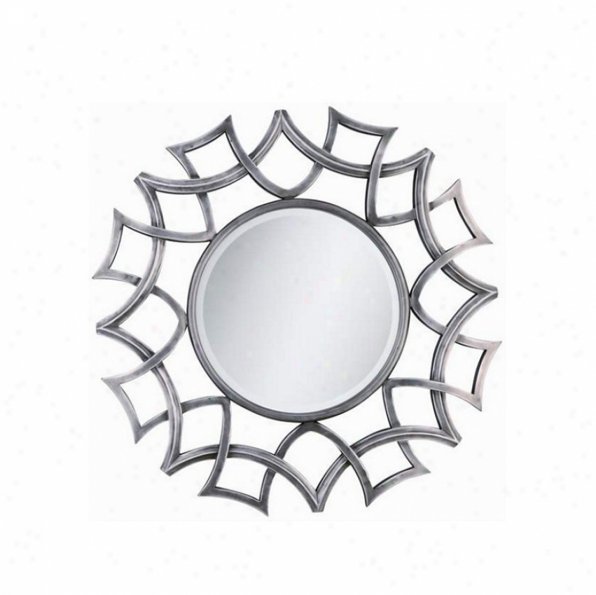 Round Wall Pattern With Basket Frame In Burnished Silver Finish