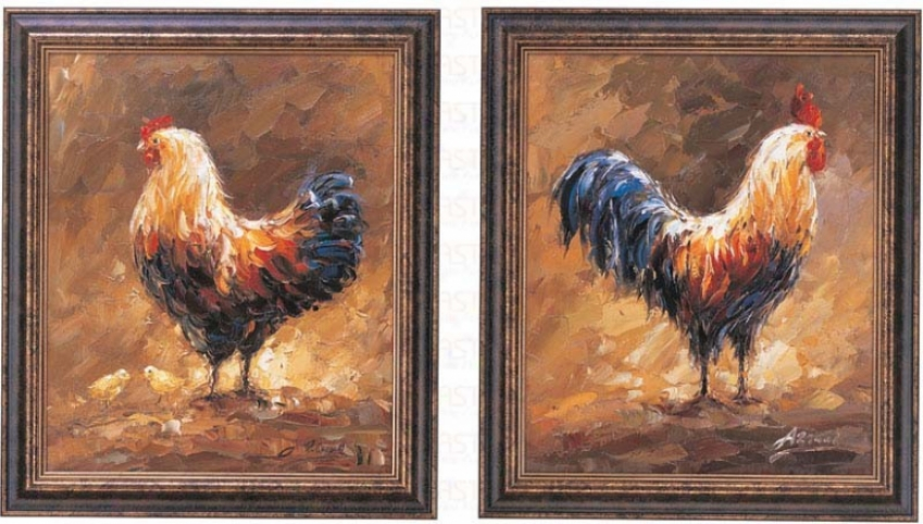 Set Of 2 Hand Painted Oil Paintings In Rooster & Hen Pattern