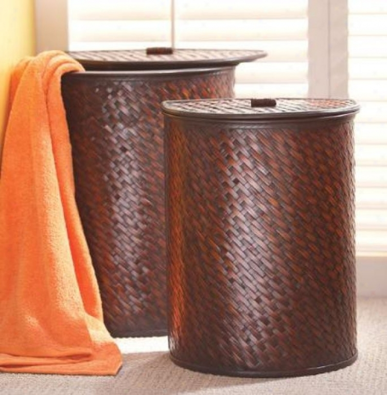 Set Of 2 Laundry Baskets With Cross Weave Pattern In Brown And Black Finish