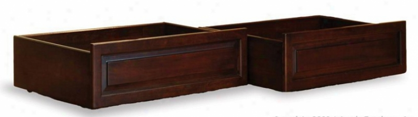 Predetermined Of 2 Twin/full Size Raised Panel Under Bed Storage Drawers - Antique Walnut Finish