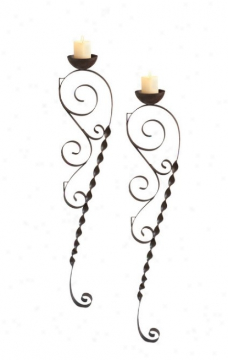 Set Of 2 Wall Candle Holders Scroll Design In Rustic Finish