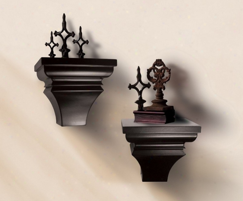 Set Of 2 Wall Mounted Sconce Shelves In Espresso Finish