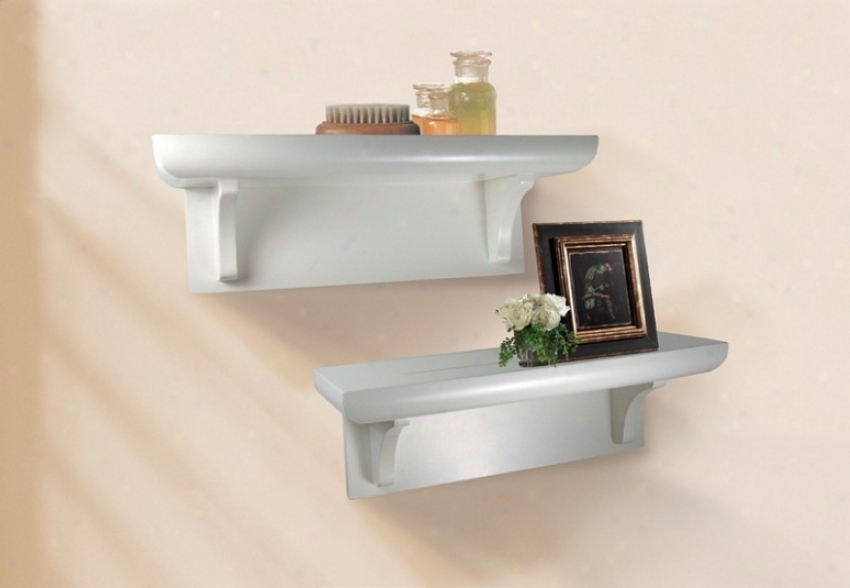 Set Of 2 Wall Mounted Shelvws Casual Style In White Finish