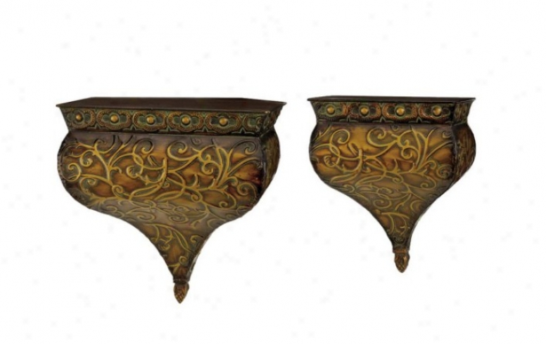 Set Of 2 Wall Shelves Hammered Design In Rustic Copper
