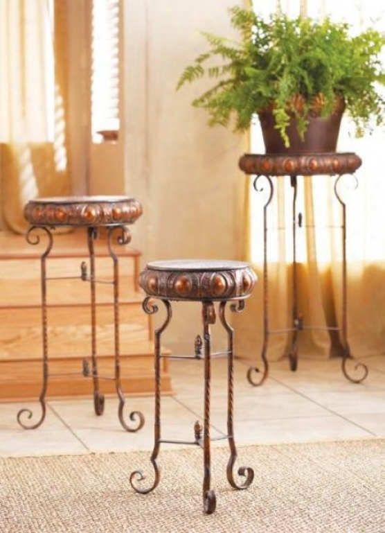 Set Of 3 Accent Nesting Tables In Antique Gold And Copper Finish