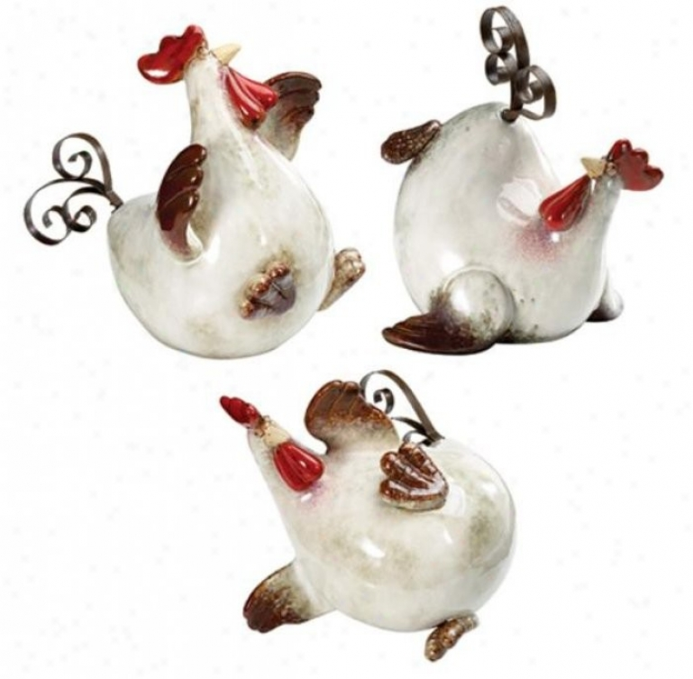 Set Of 3 Rooster Figurines In Verdant And Brown Finish
