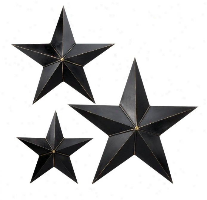 Set Of 3 Star Wall D�cors In Distressed Black Finish