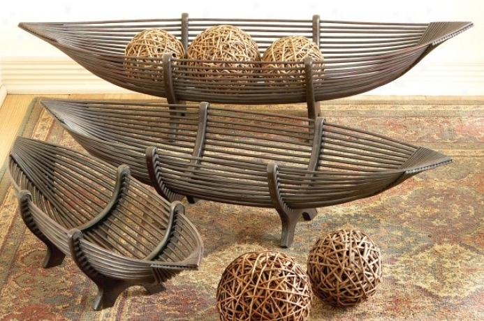 Set Of 3 Trays With Boat Shaped In Mahoony Finish