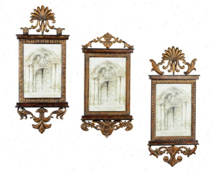 Set Of 3 Wall Frames With Pediment In Antique Gold Finish