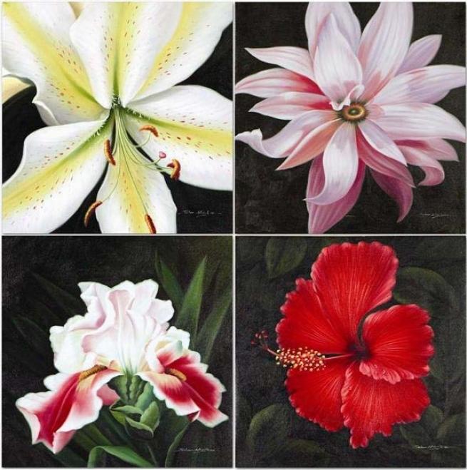 Set Of 4 Hand Painted Oil Paintings In Flower Design